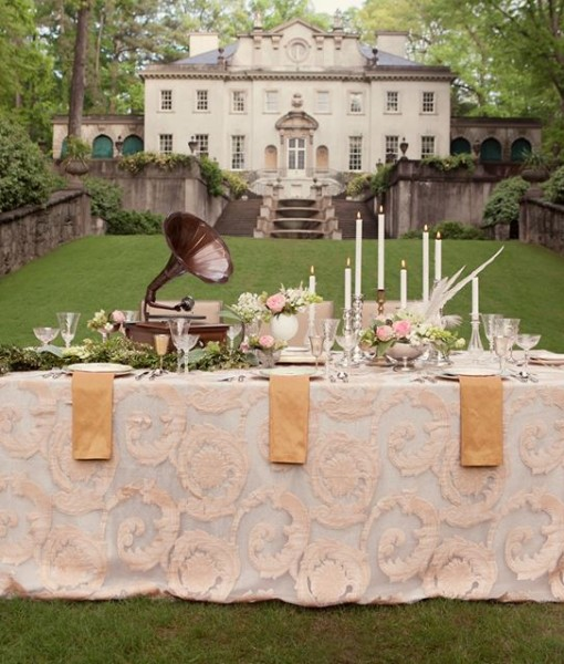 Blush Damask Scroll estate