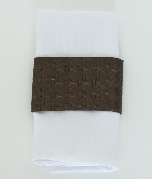 Brown Leather Basket Weave - Napkin Band