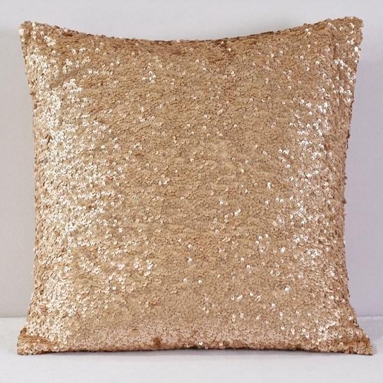 Champagne Sequin Taffeta Pillow