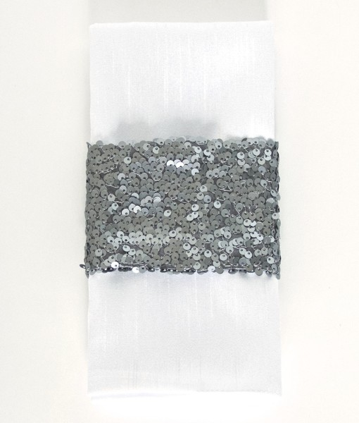 Charcoal Sequin Taffeta - Napkin Band
