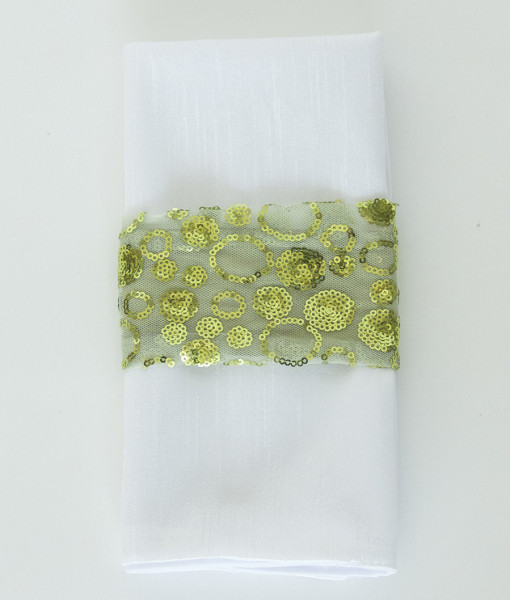 Chartreuse Sequin Bubbles - Napkin Band