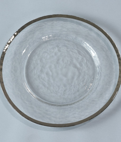 Clear Charger with Silver Rim
