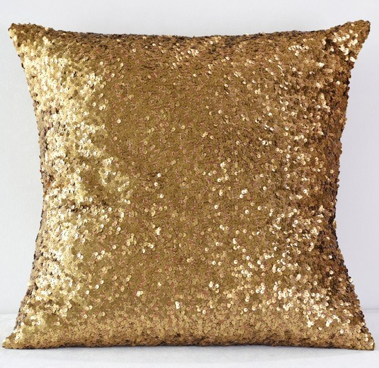 Dark Gold Sequin Taffeta Pillow