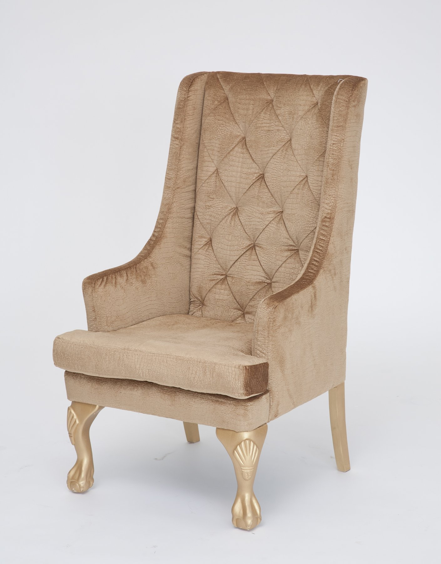 Gold high back wing chair n age designs for Designer chair images