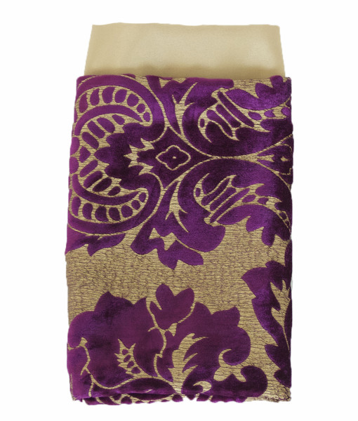 Gold Leaf & Plum Damask Velvet Lined Napkin web
