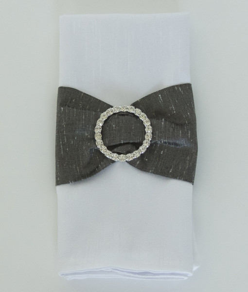 Heather Grey Faux  Dupioni with Rhinestone Buckle - Napkin Band