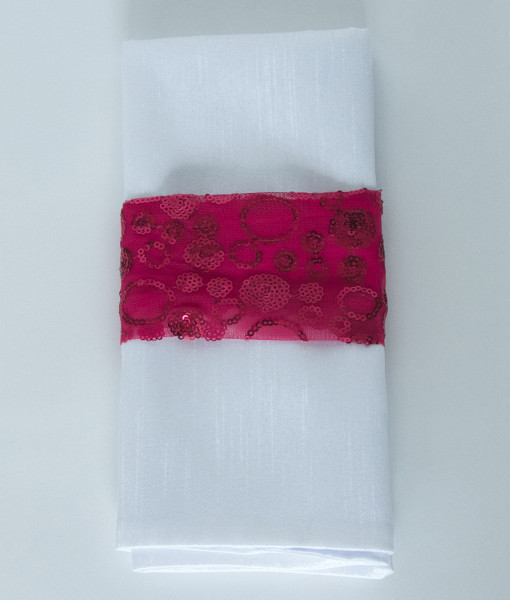 Hot Pink Sequin Bubbles - Napkin Band