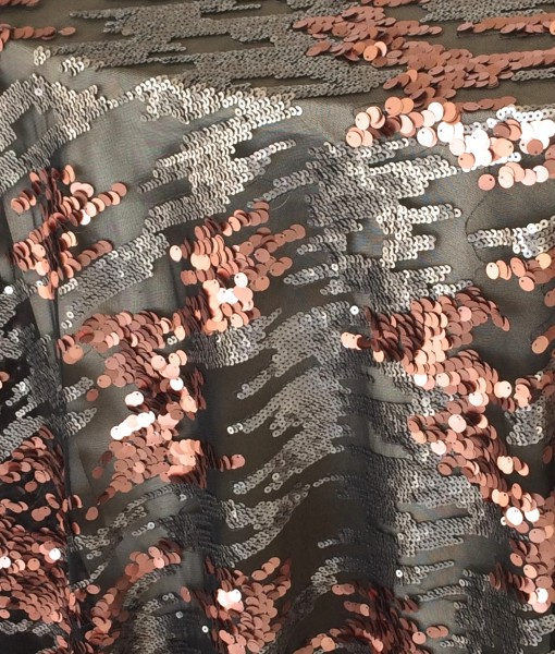 copper and pewter sequin rain