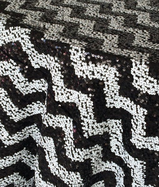 Black and White Sequin Chevron