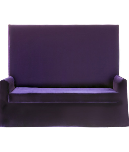 Purple Velvet High Back Sofa