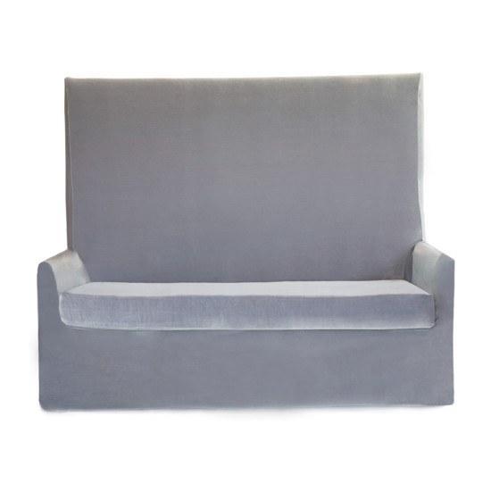 Silver Velvet Highback Sofa