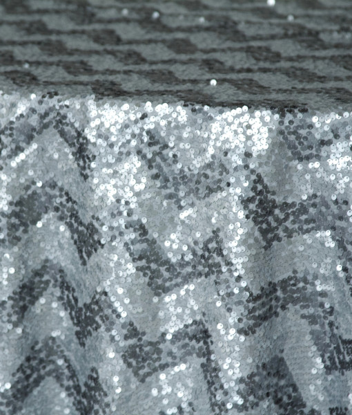 charcoal and silver sequin chevron