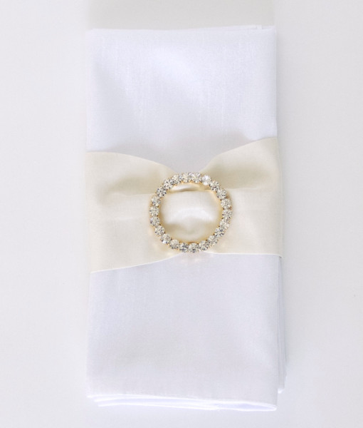 Ivory Matte Satin with Rhinestone Buckle - Napkin Band