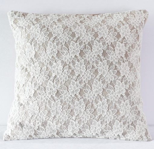 Latte Satin w Off White Lace Pillow