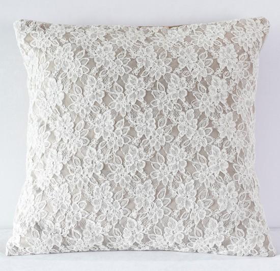 Latte Satin w Off White Lace Pillow