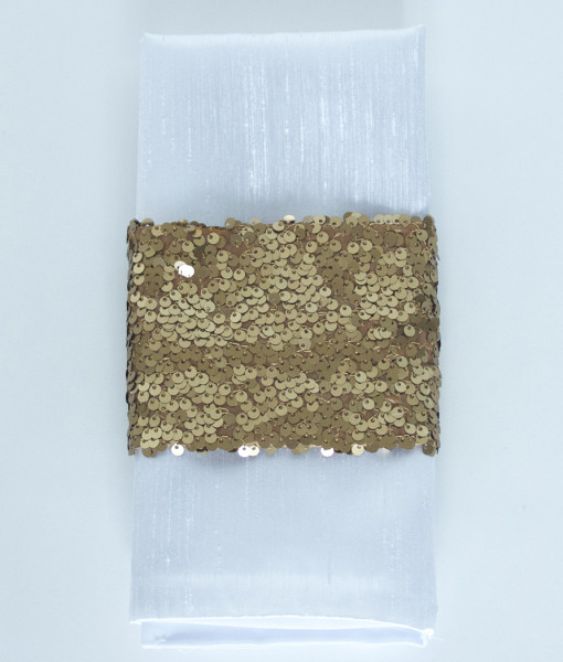 Matte Dark Gold Sequin Taffeta - Napkin Band