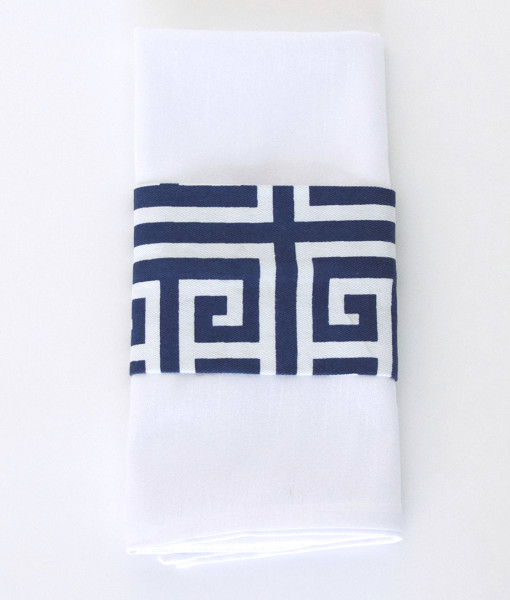 Navy Greek Key - Napkin Band_