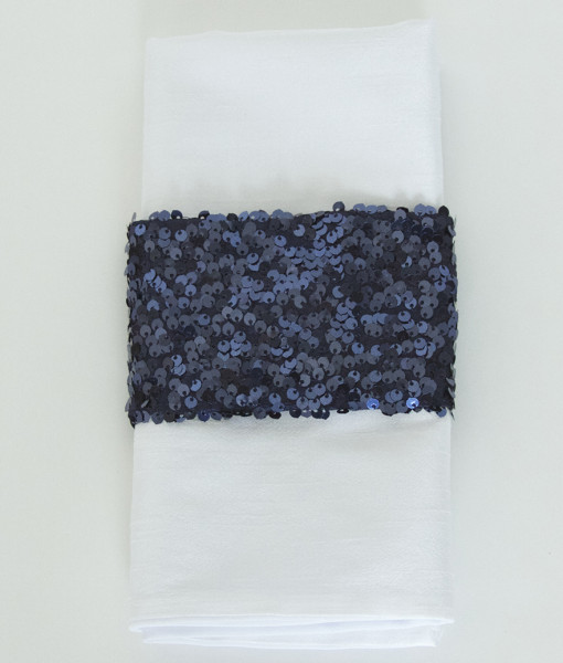Navy Sequin  Taffeta - Napkin Band