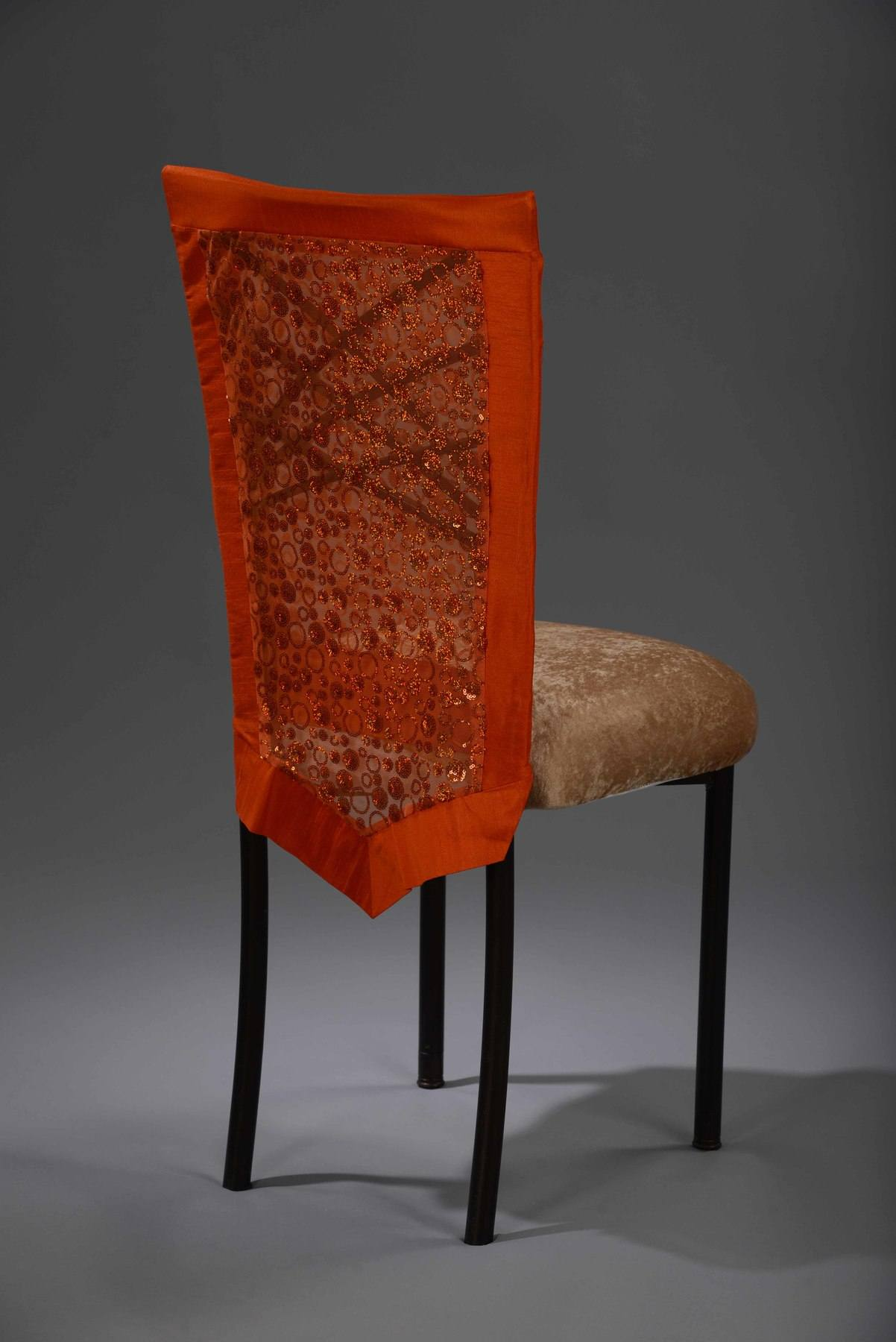 Orange Sequin Bubble Chameleon Sequin Chair Cover