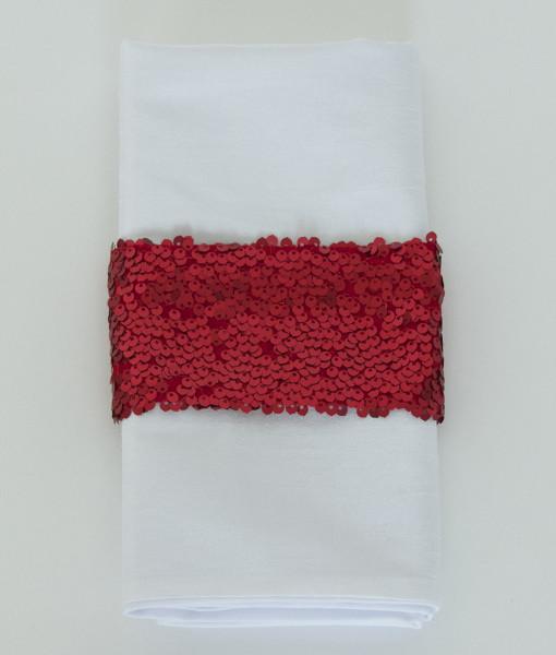 Red Sequin Taffeta - Napkin Band