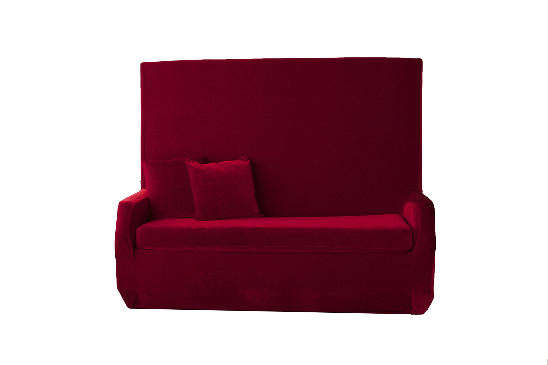 Red Velvet High Back Sofa Nüage Designs
