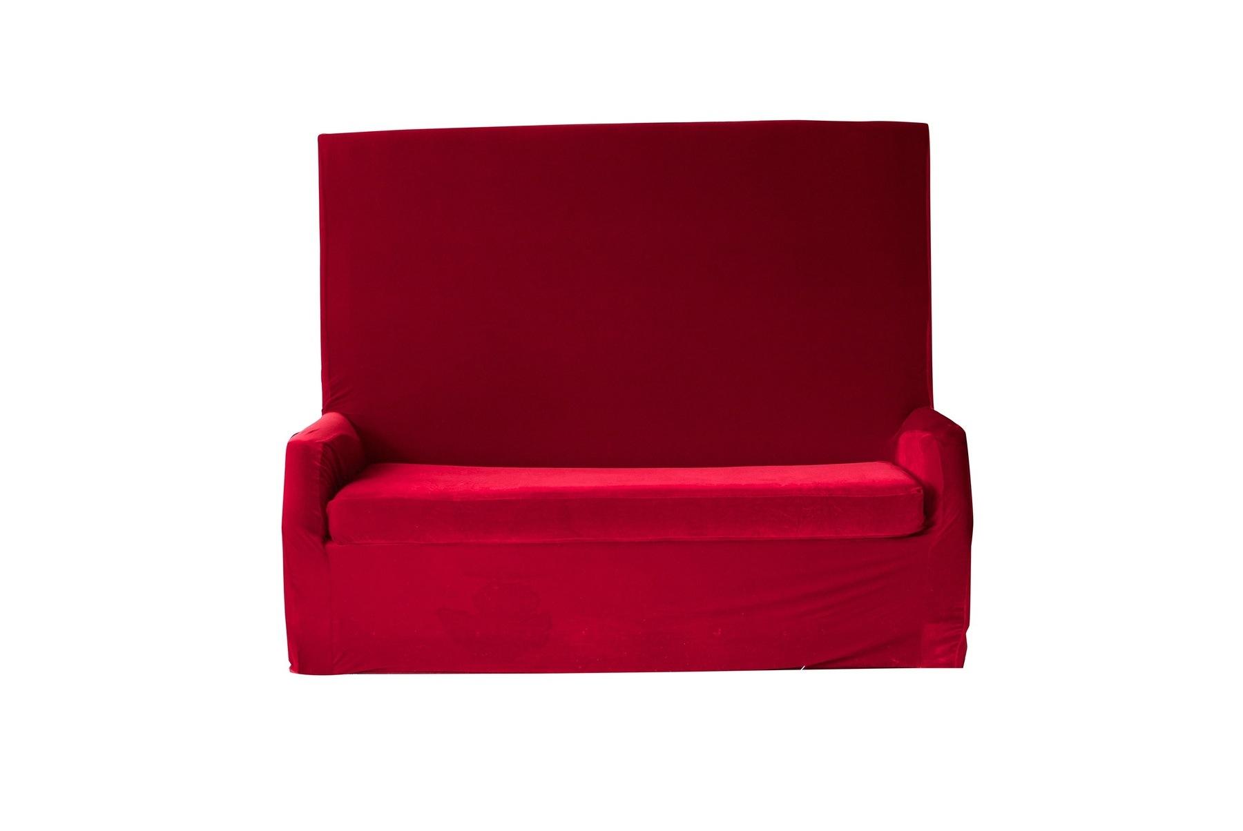 Red Velvet High Back Sofa Nüage Designs