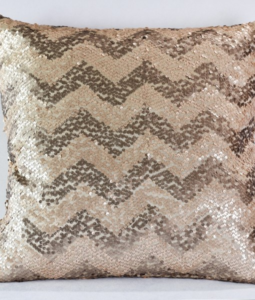 Taupe Sequin Chevron Pillow