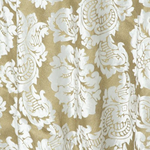 White and Gold Leaf Damask Velvet