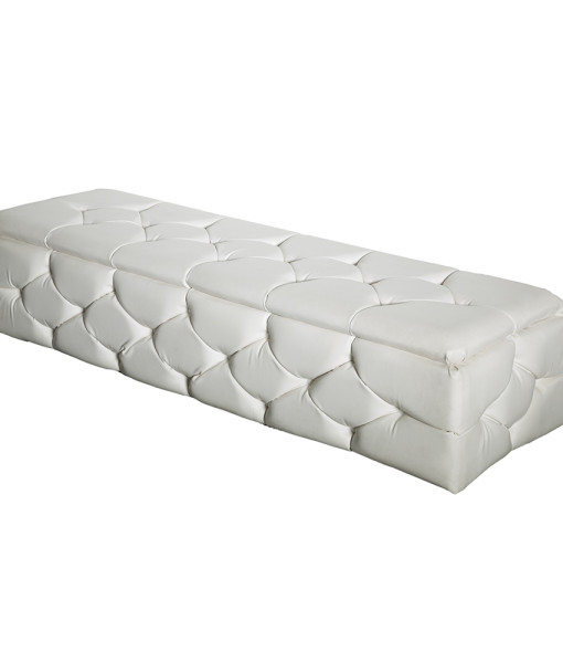 white tufted leather bench