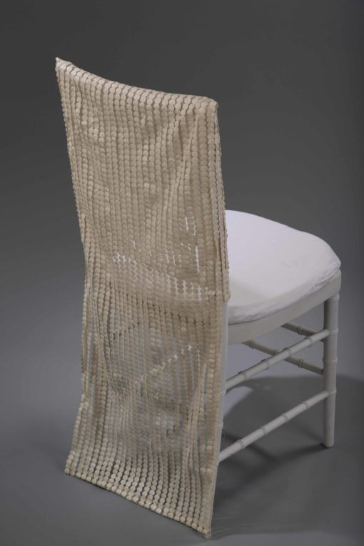 ivory leather dot chair back