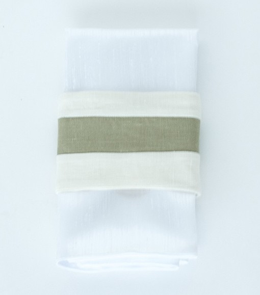 Ivory Linen with Green Center - Napkin Band web