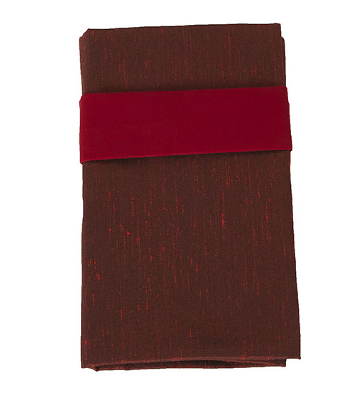burgundy faux dupioni lined napkin