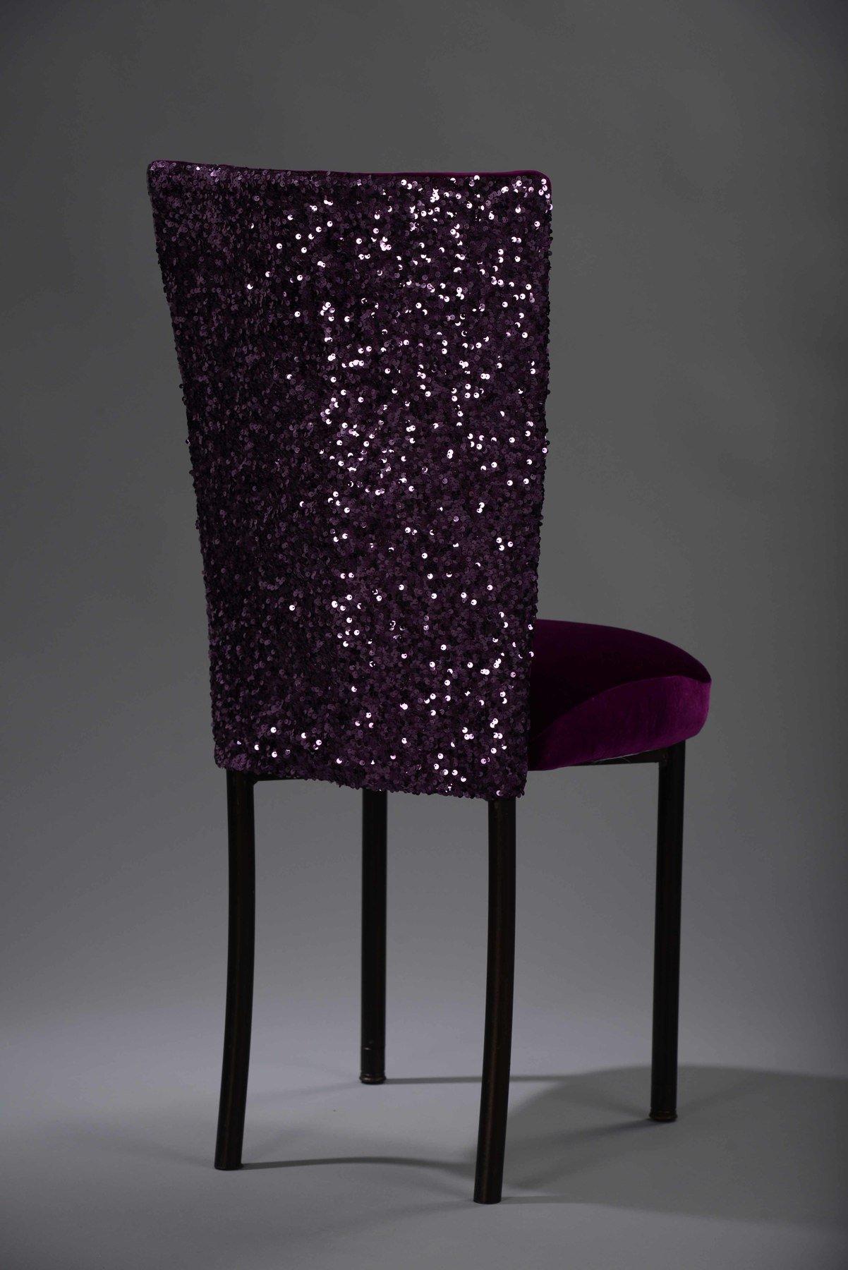 Purple Sequin Taffeta Chameleon Chair Cover N 252 Age Designs