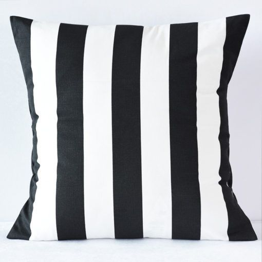 Black Awning Stripe Pillow