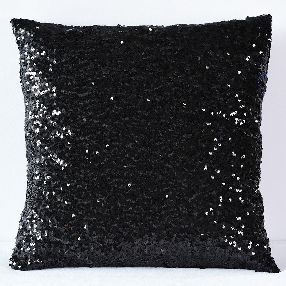 Black Sequin Taffeta Pillow - Nüage Designs