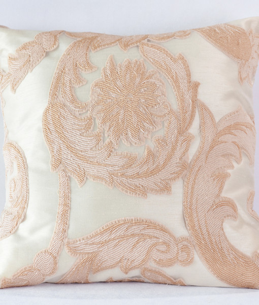 Blush Damask Scroll Pillow