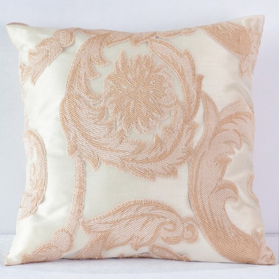 Blush Damask Scroll Pillow