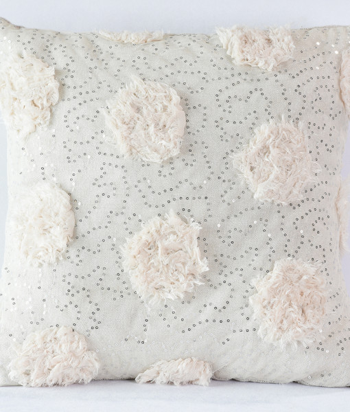 Blush Sequin Peony Pillow