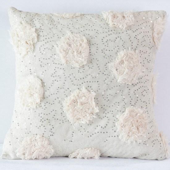 Blush Sequin Peony Pillow