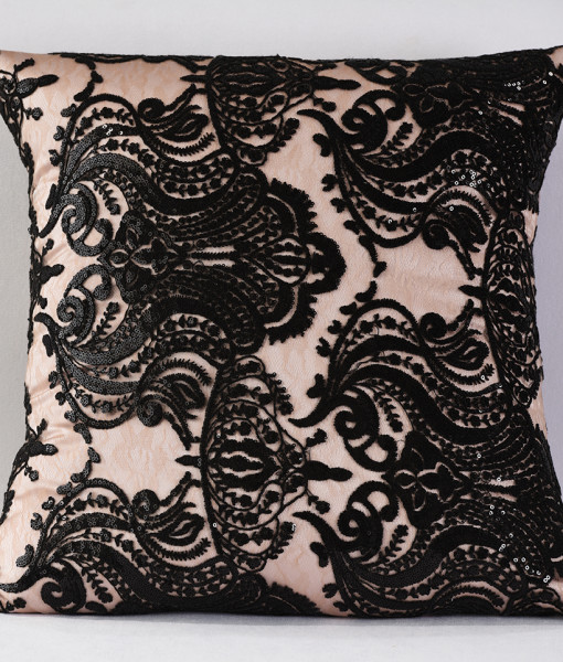 Blush and Black Sofia Pillow