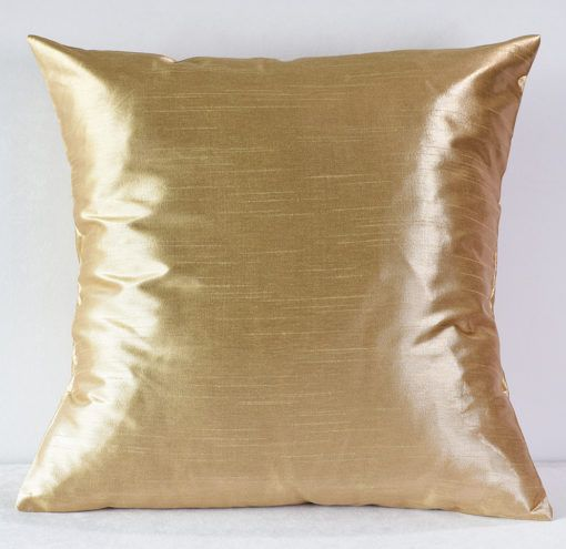 Buff Metallic Faux Dupioni Pillow