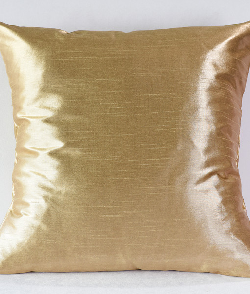 Buff Metallic Faux Dupioni Pillow
