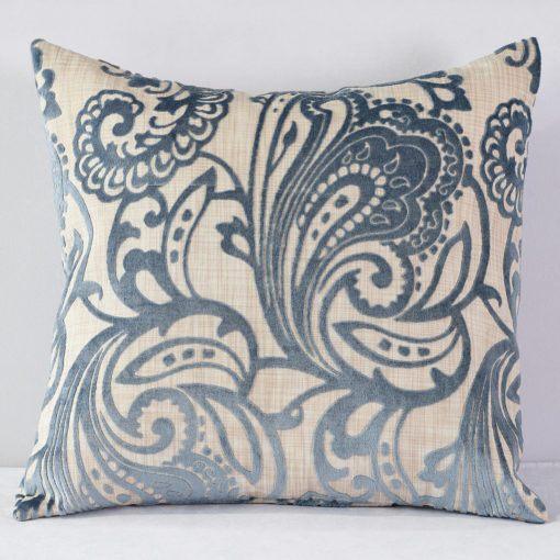 Cornflower Blue Hemp Flocking Pillow