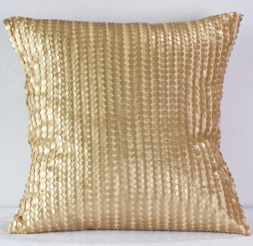 Gold Leather Dot Pillow
