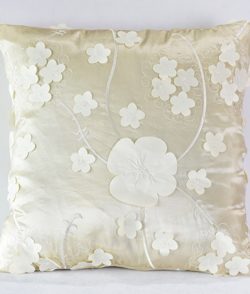 Ivory Floral Patch Pillow