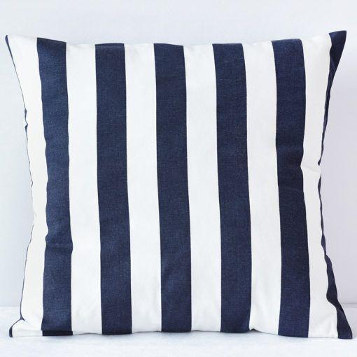 Navy Awning Stripe Pillow
