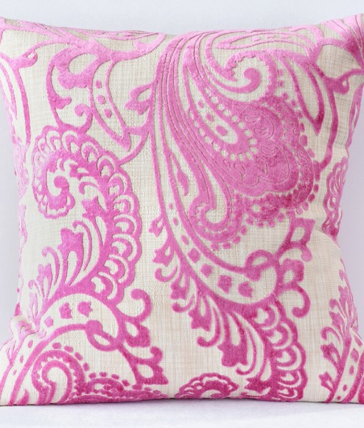 Pink Hemp Flocking Pillow