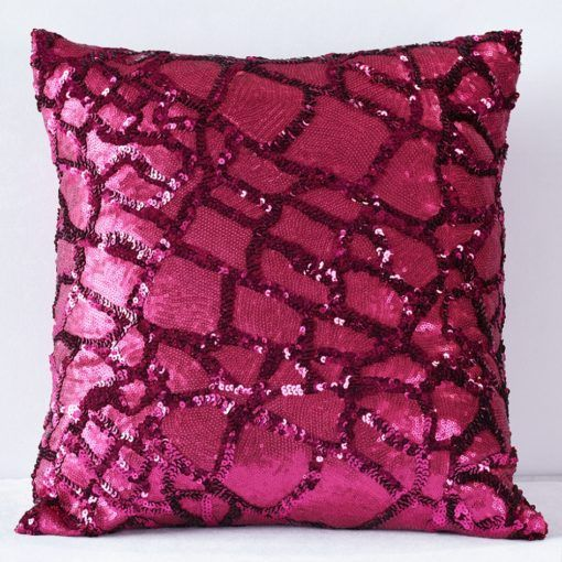 Raspberry Sequin Pattern Pillow