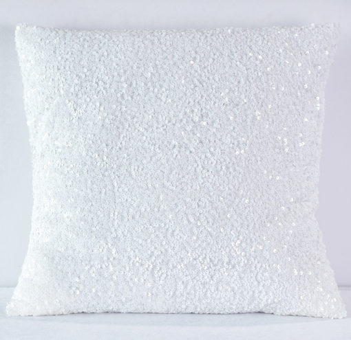 White Sequin Taffeta Pillow