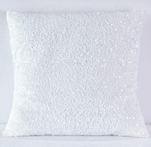 White Sequin Taffeta Pillow